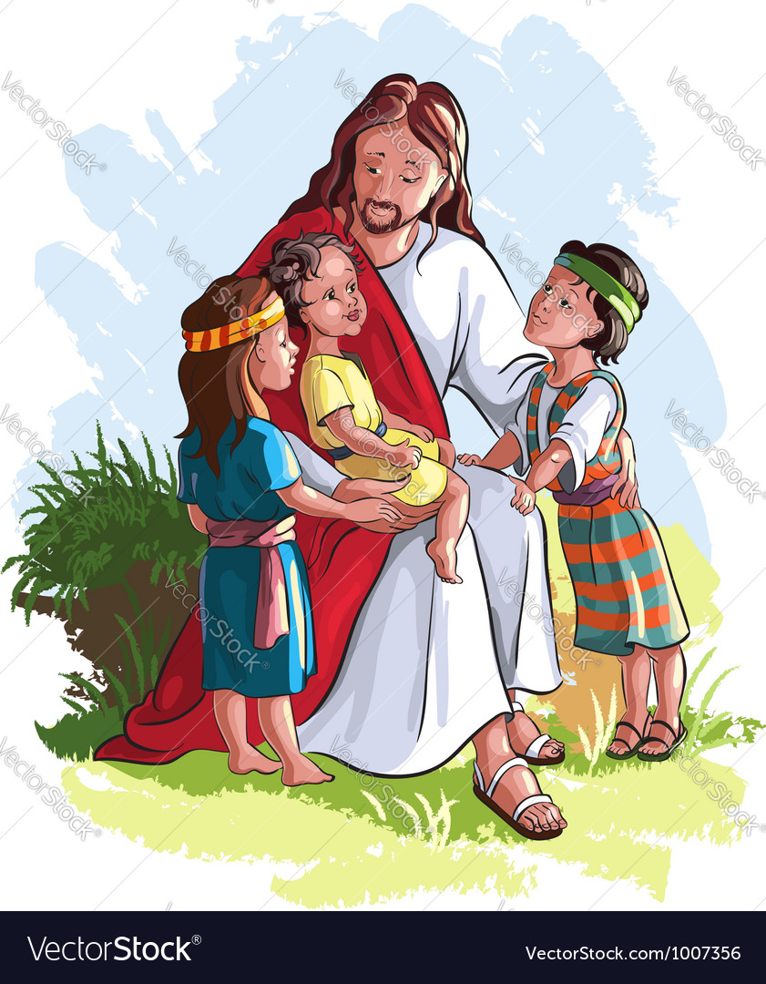 Jesus with children vector | Price: 5 Credit (USD $5)