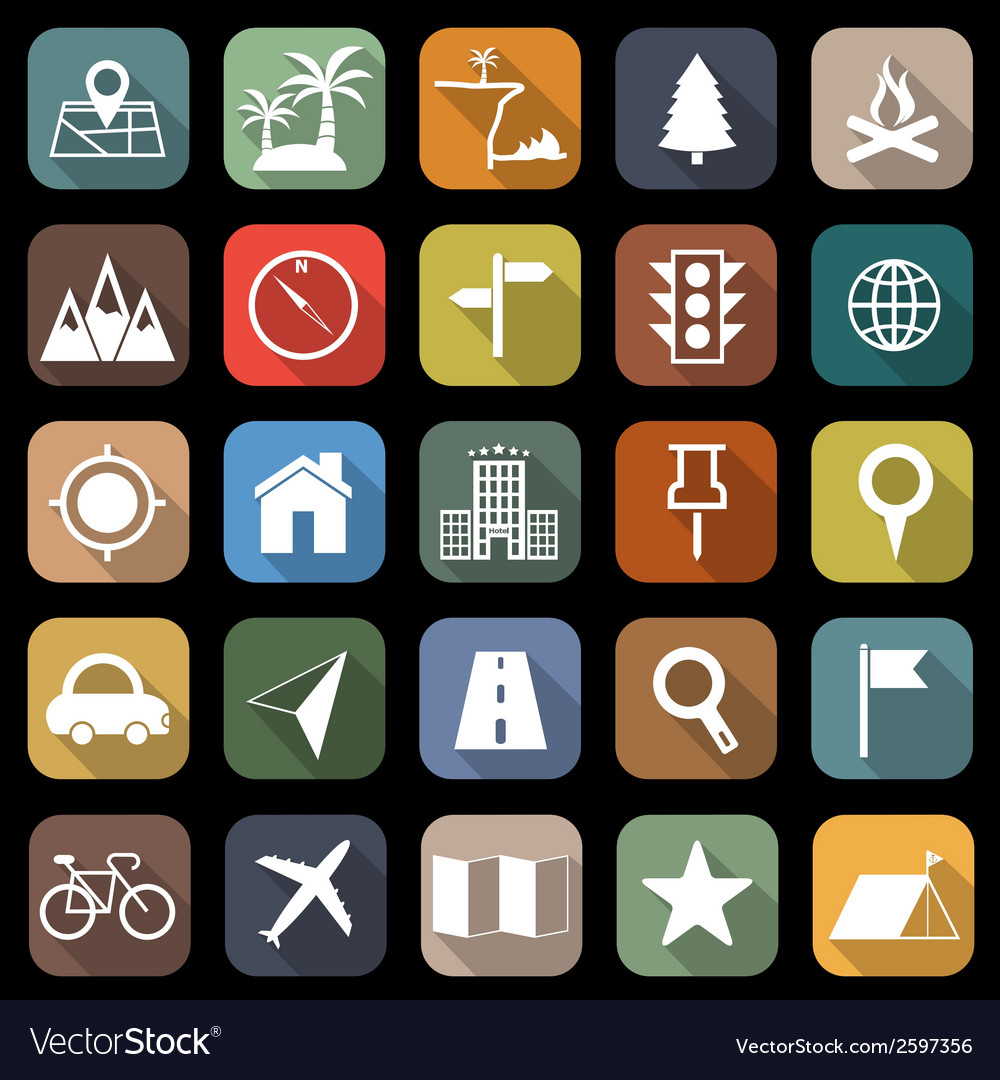 Location flat icons with long shadow vector | Price: 1 Credit (USD $1)