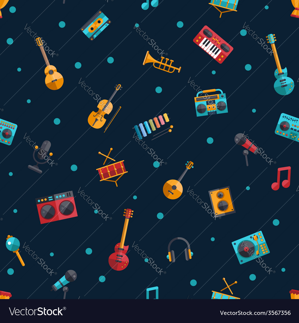 Modern flat design musical instruments and music vector | Price: 1 Credit (USD $1)