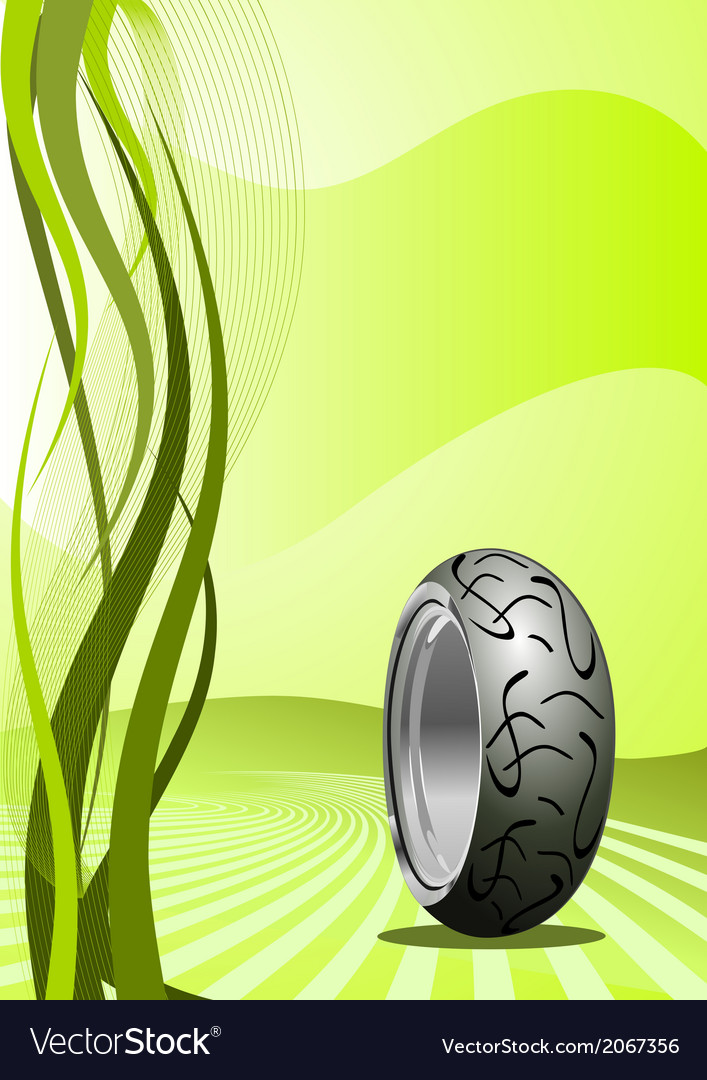 Motorcycle tire on green background vector | Price: 1 Credit (USD $1)
