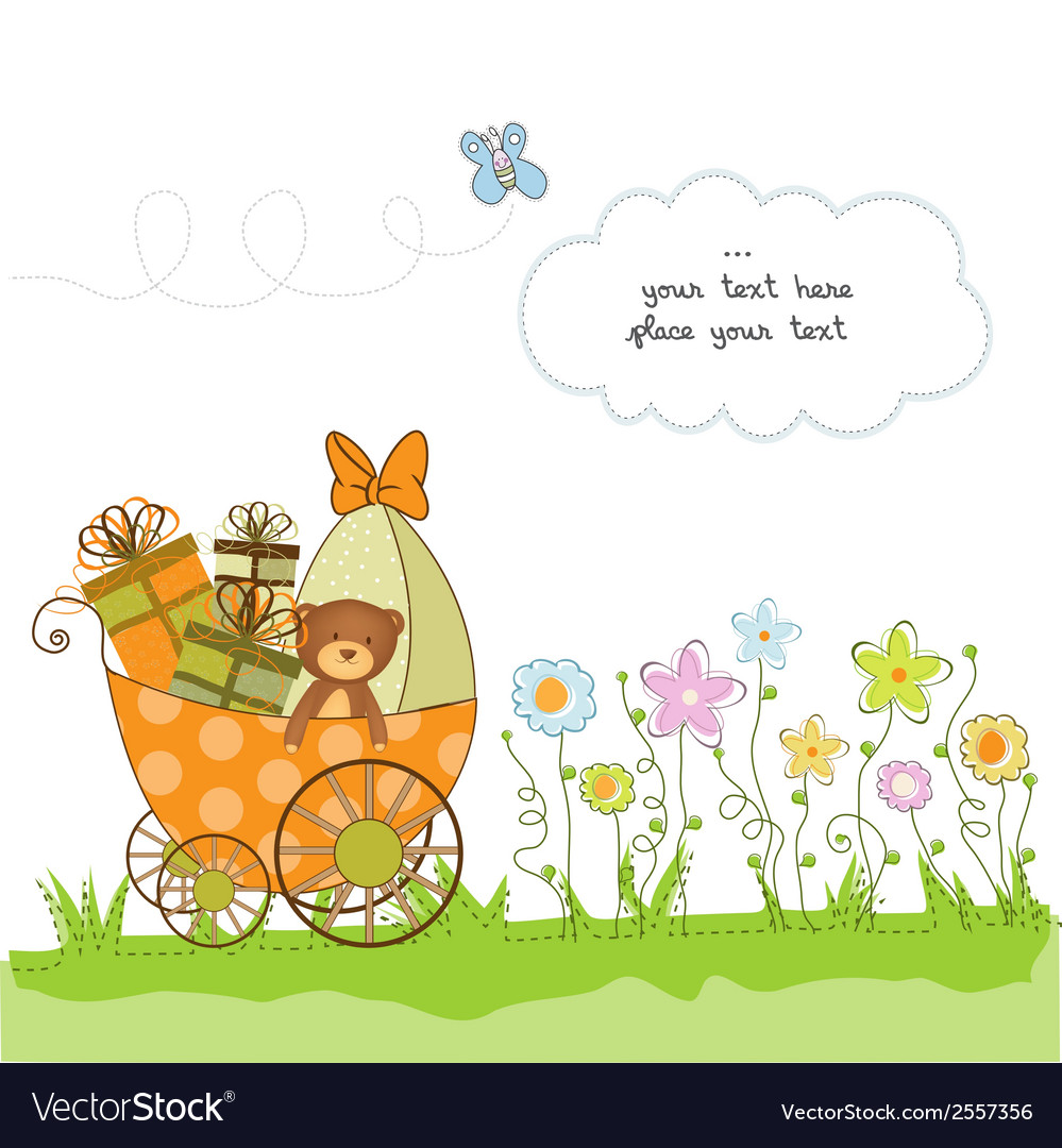 New baby announcement card with pram vector | Price: 1 Credit (USD $1)