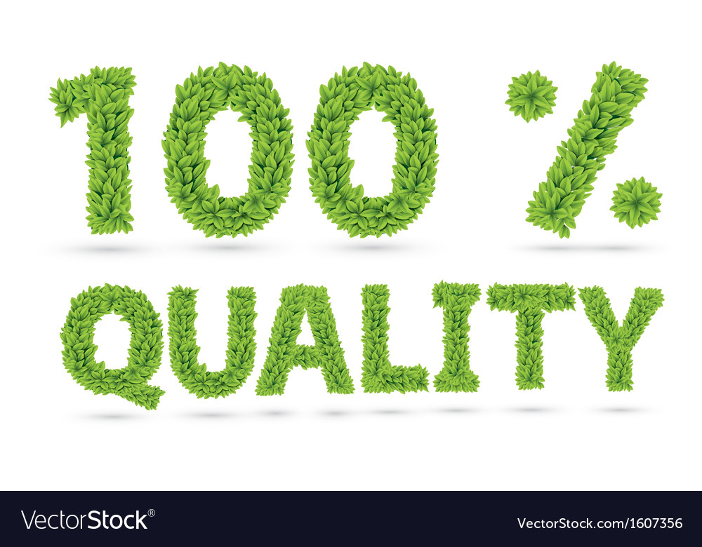 One hundred percents quality word of green leafs vector | Price: 1 Credit (USD $1)