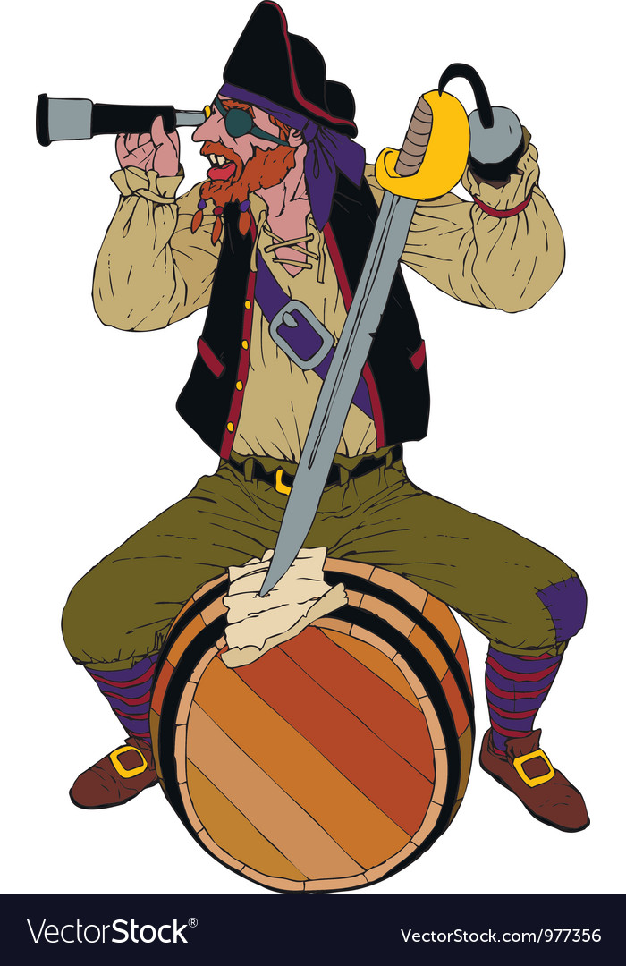 Red haired pirate looks through a spyglass vector | Price: 1 Credit (USD $1)