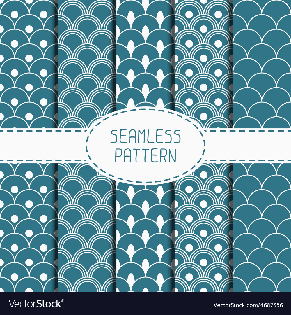 Set of geometric national blue japanese seamless vector | Price: 1 Credit (USD $1)
