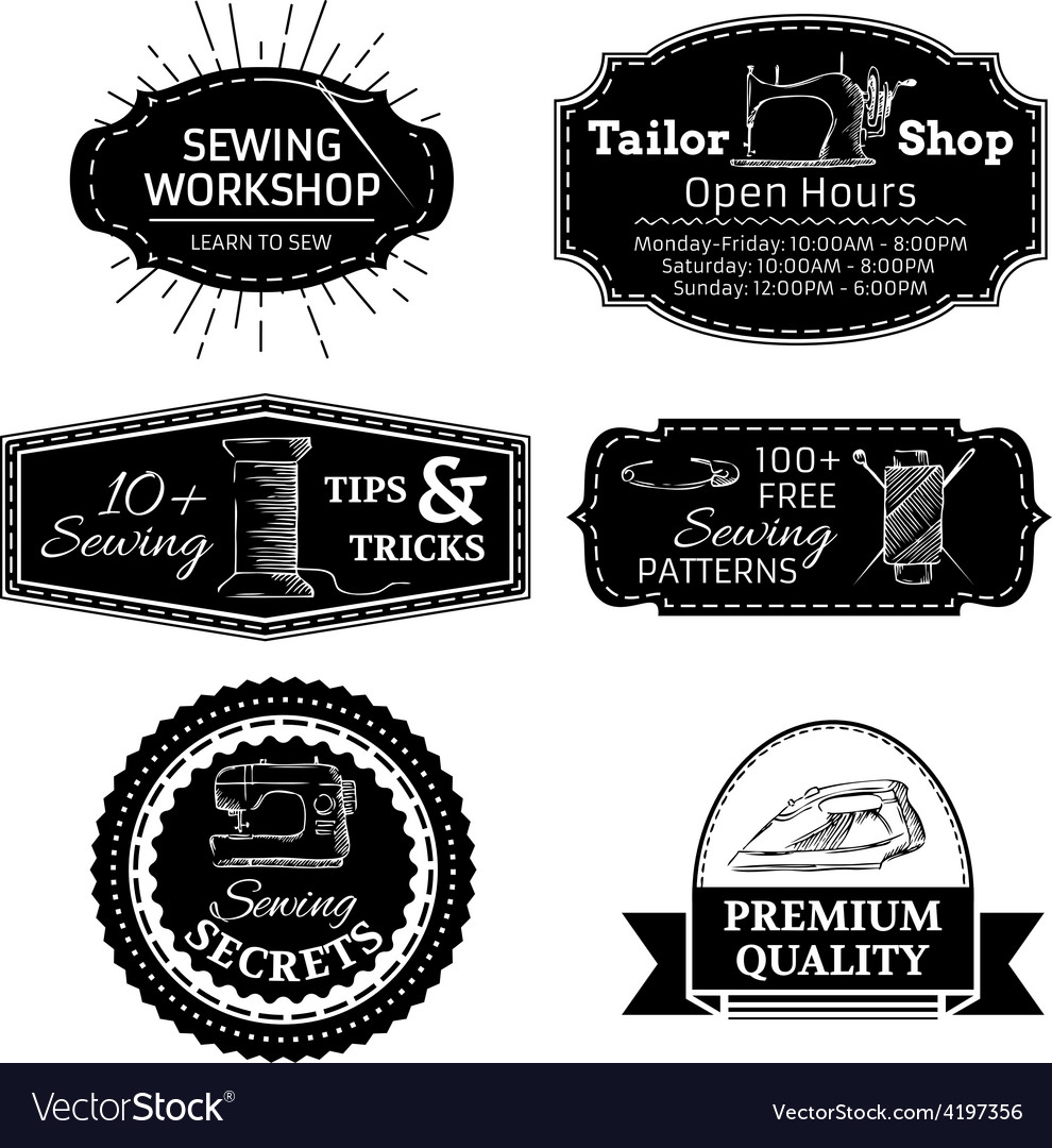 Set of sewing linear retro badges labels logo vector | Price: 1 Credit (USD $1)