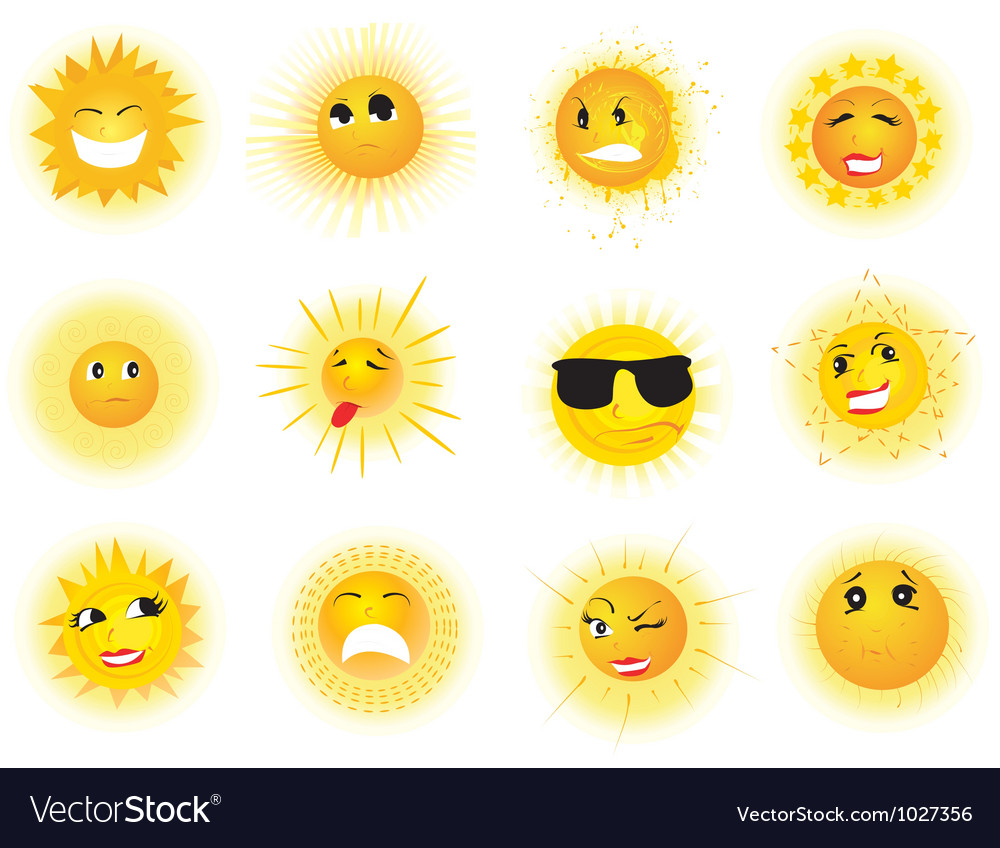 Sun emoticons vector | Price: 1 Credit (USD $1)