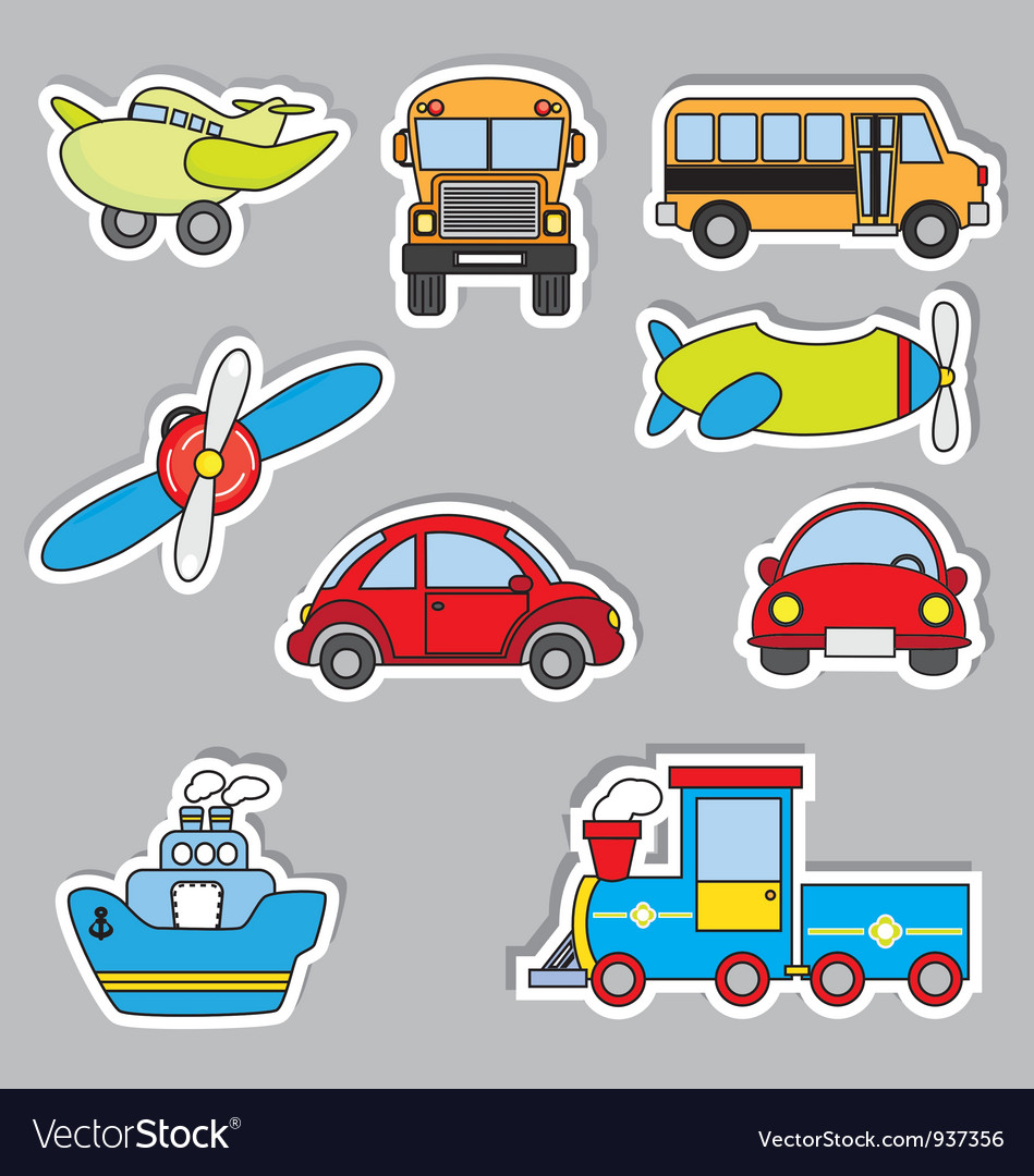 Transportation sticker icons vector | Price: 3 Credit (USD $3)