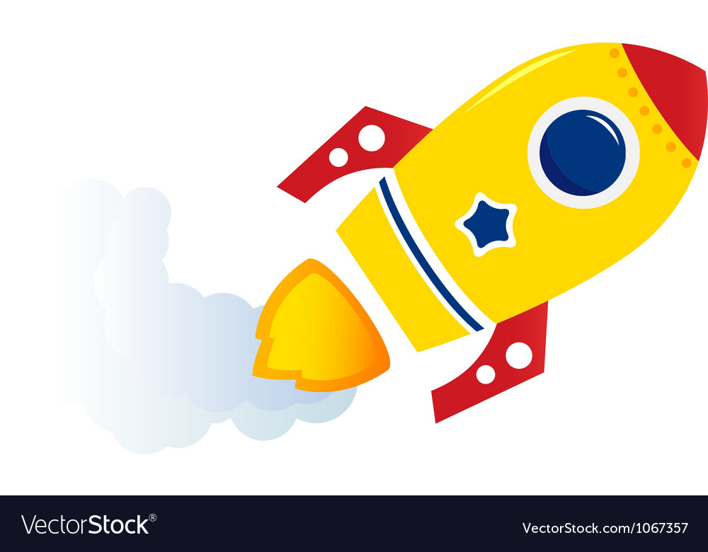Flying cartoon rocket vector | Price: 1 Credit (USD $1)