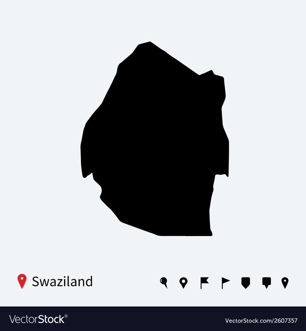 High detailed map of swaziland with navigation vector | Price: 1 Credit (USD $1)