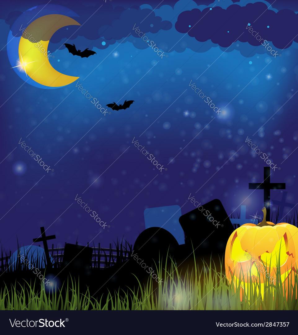 Jack o lantern on a night cemetery vector | Price: 1 Credit (USD $1)