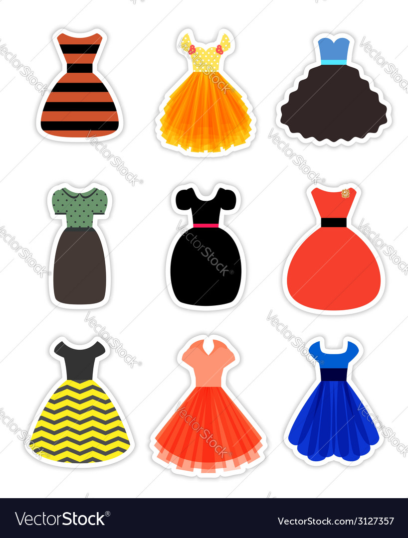 Retro fashion dresses set vector | Price: 1 Credit (USD $1)