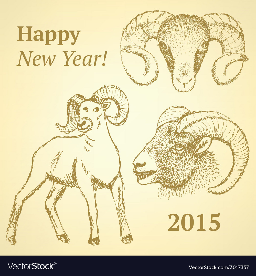 Sketch new year ram in vintage style vector   Price: 1 Credit (USD $1)