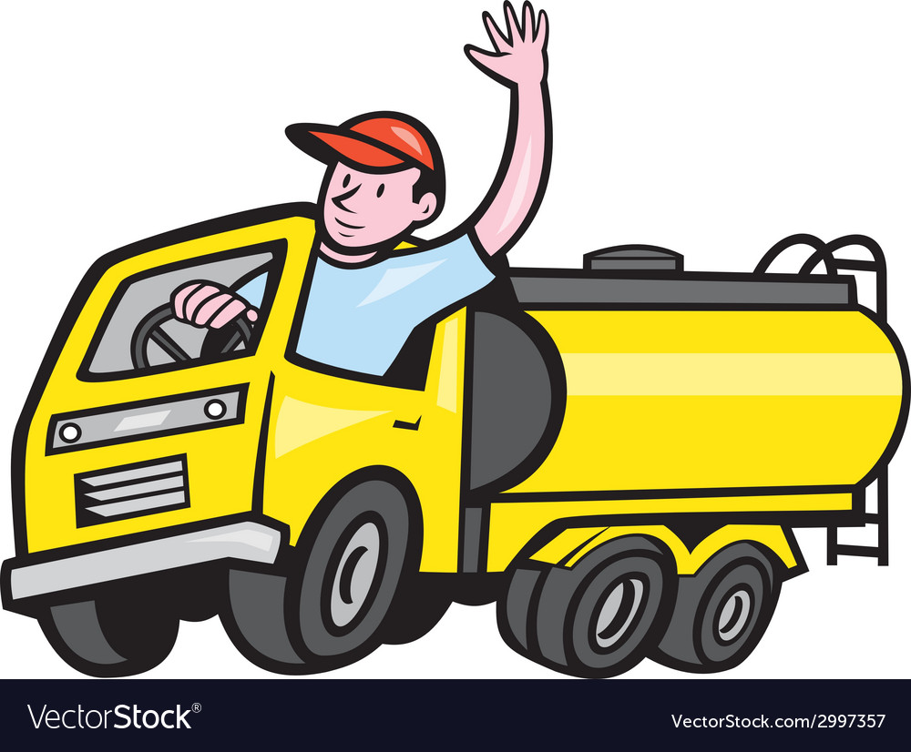 Tanker truck driver waving cartoon vector | Price: 1 Credit (USD $1)