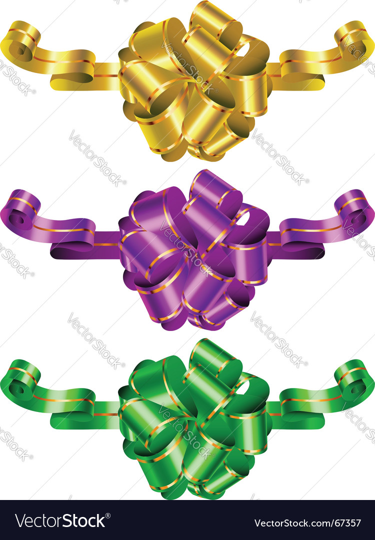 Three color decorative bows vector | Price: 1 Credit (USD $1)
