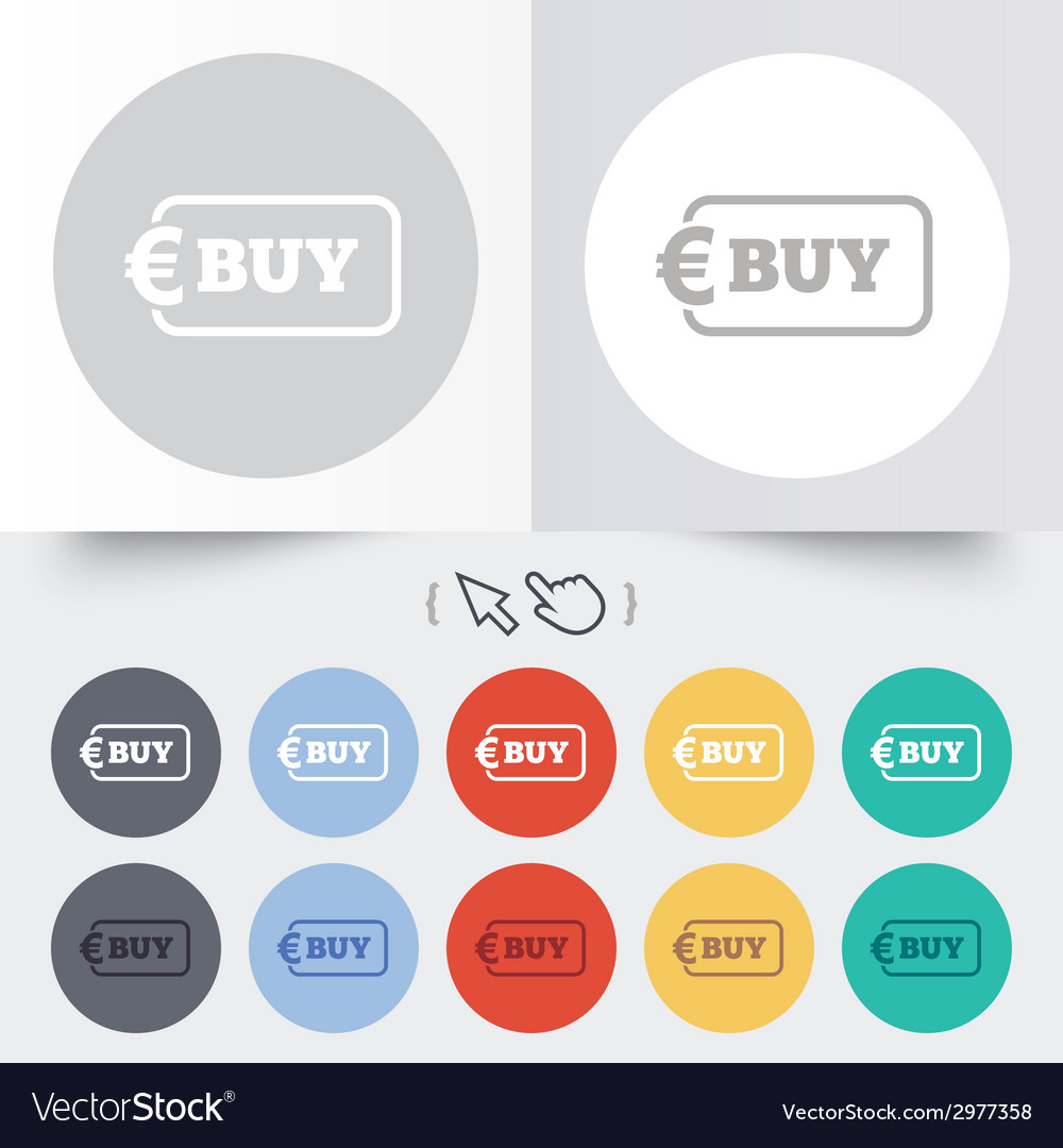Buy sign icon online buying euro button vector | Price: 1 Credit (USD $1)