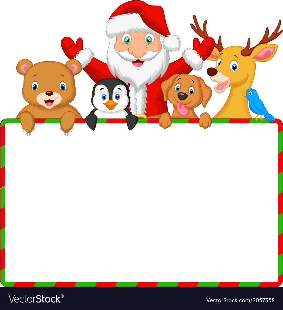 Cartoon santa and friend with blank sign vector | Price: 1 Credit (USD $1)