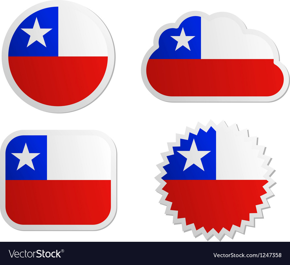 Chile flag labels vector | Price: 1 Credit (USD $1)