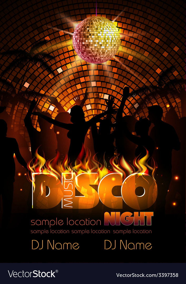 Disco background disco poster vector | Price: 3 Credit (USD $3)