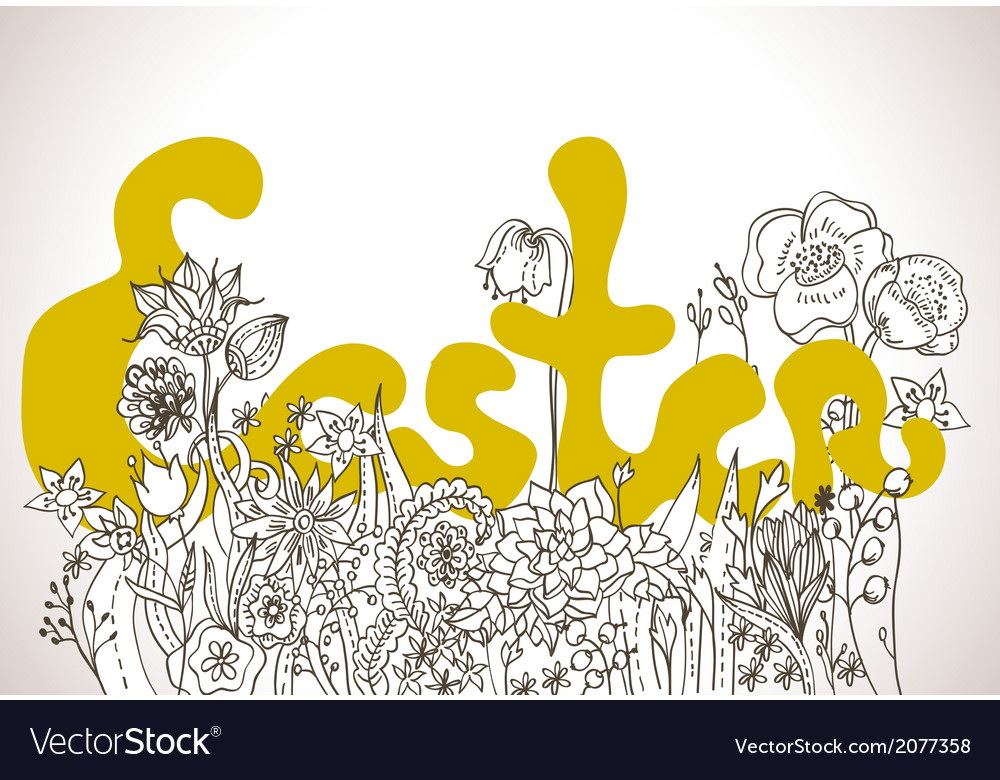 Easter background with lettering and wild flowers vector | Price: 1 Credit (USD $1)