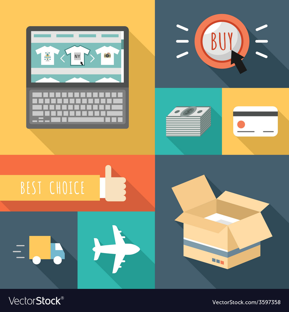 Flat design icons of e-commerce internet sh vector | Price: 1 Credit (USD $1)