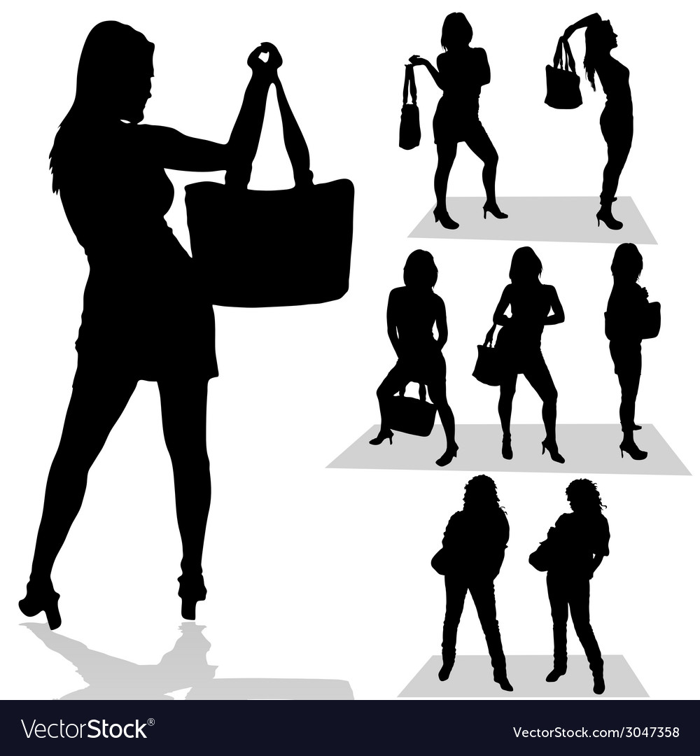 Girl with bag black silhouette vector | Price: 1 Credit (USD $1)