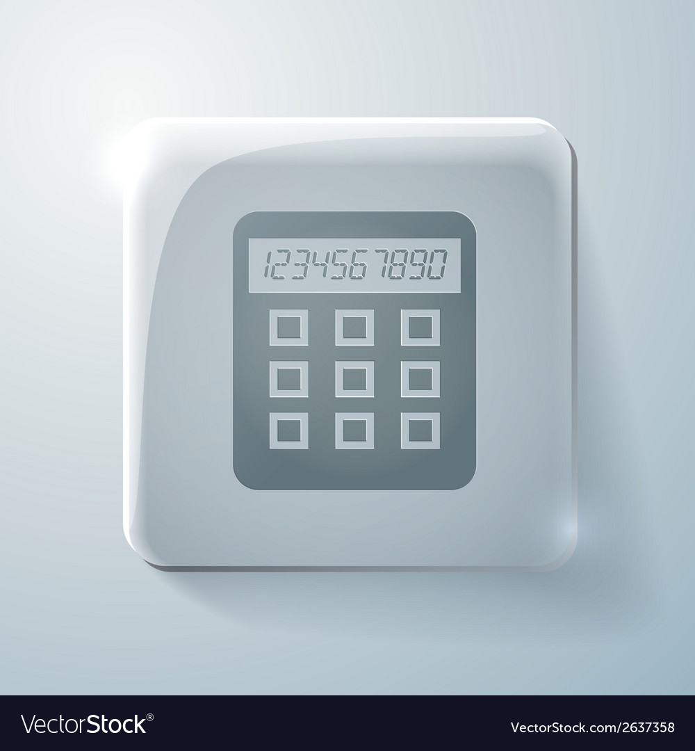 Glass square icon with highlights calculator vector | Price: 1 Credit (USD $1)