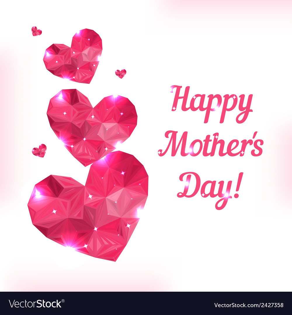 Happy mother day love symbol pink origami heart on vector | Price: 1 Credit (USD $1)