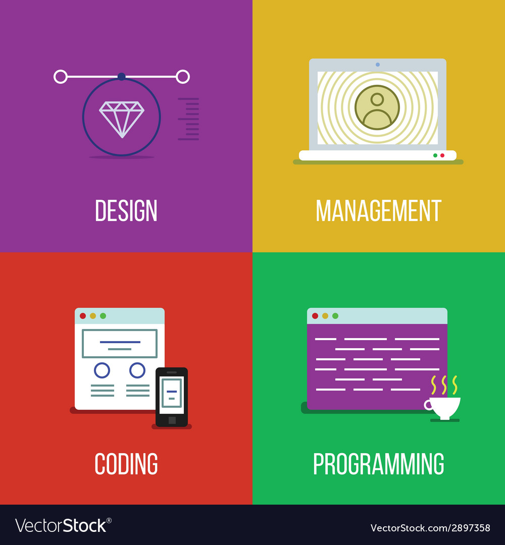 Infographic icon set of design management coding vector | Price: 1 Credit (USD $1)