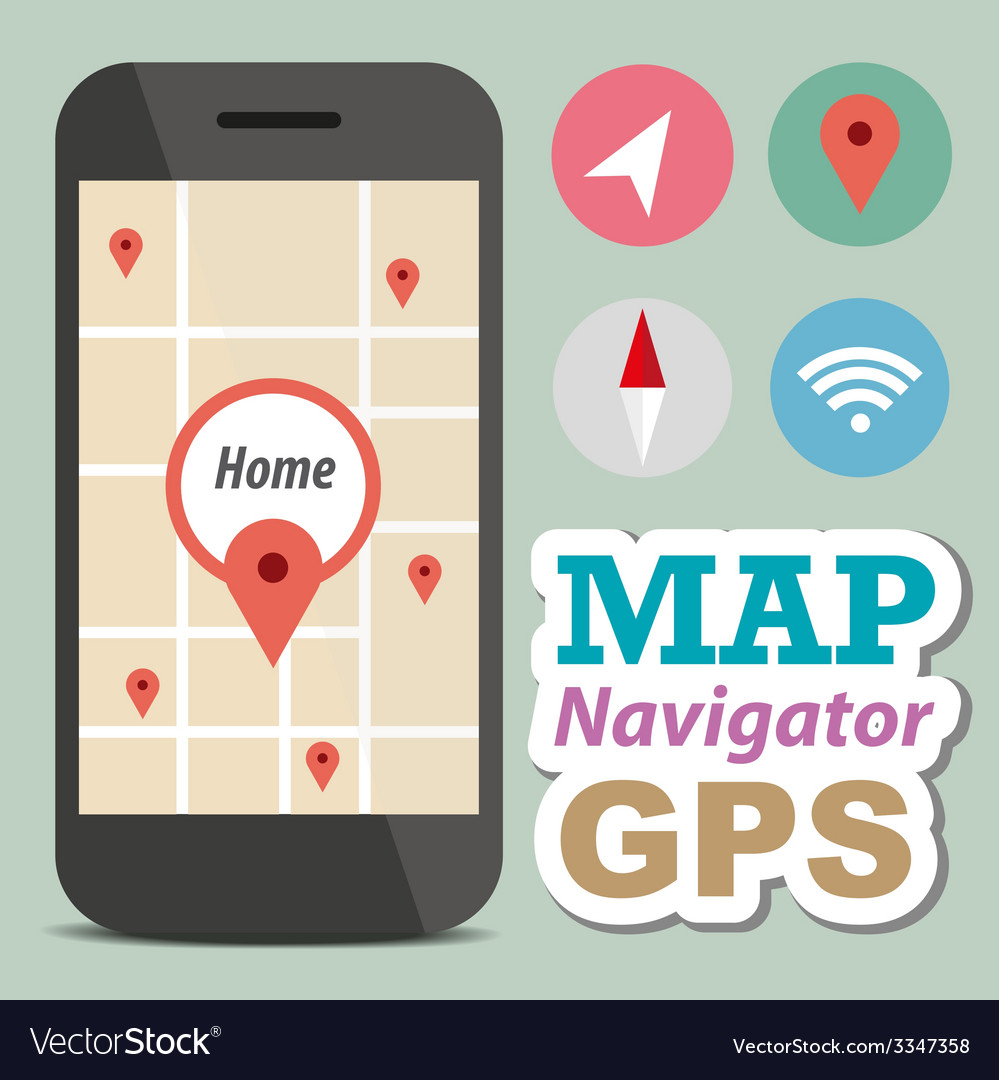 Navigator concept smart phone with icon vector | Price: 1 Credit (USD $1)