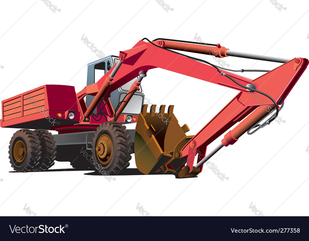 Old-fashioned excavator vector | Price: 3 Credit (USD $3)