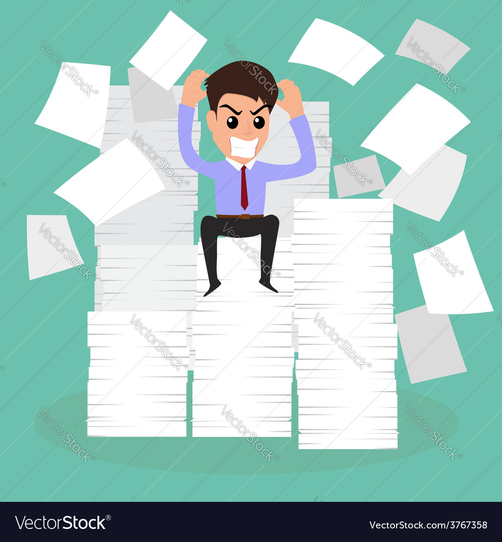 Seriously businessman because of many paper on wor vector | Price: 1 Credit (USD $1)