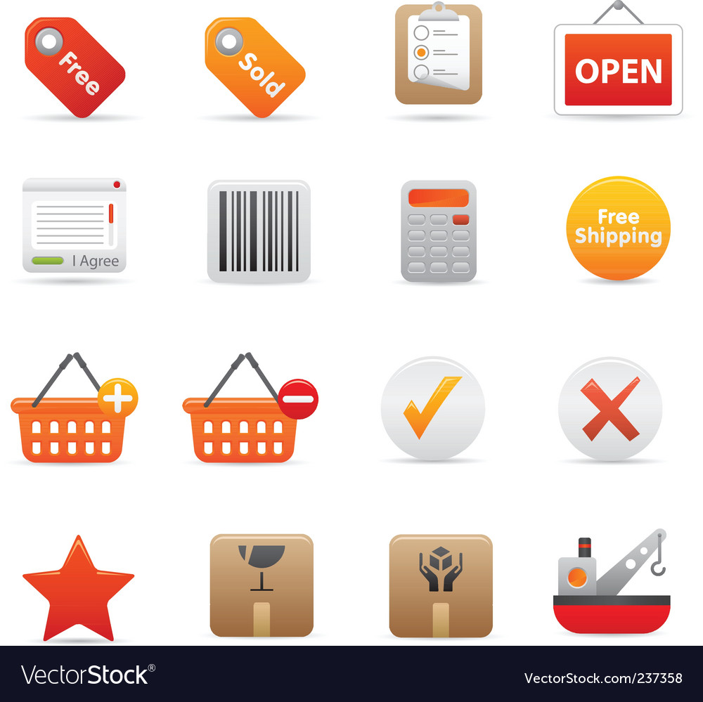 Shopping icons  red vector   Price: 1 Credit (USD $1)