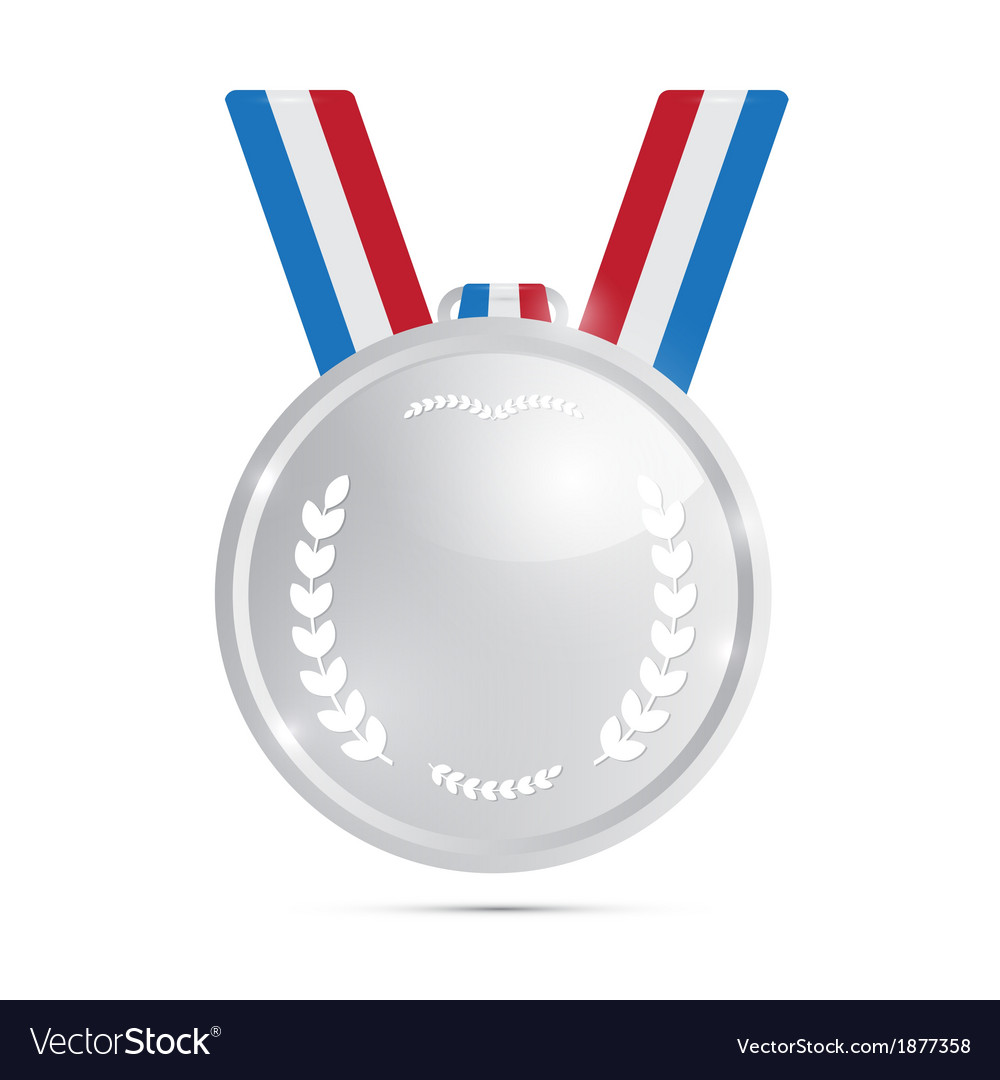 Silver medal award isolated on white background vector | Price: 1 Credit (USD $1)