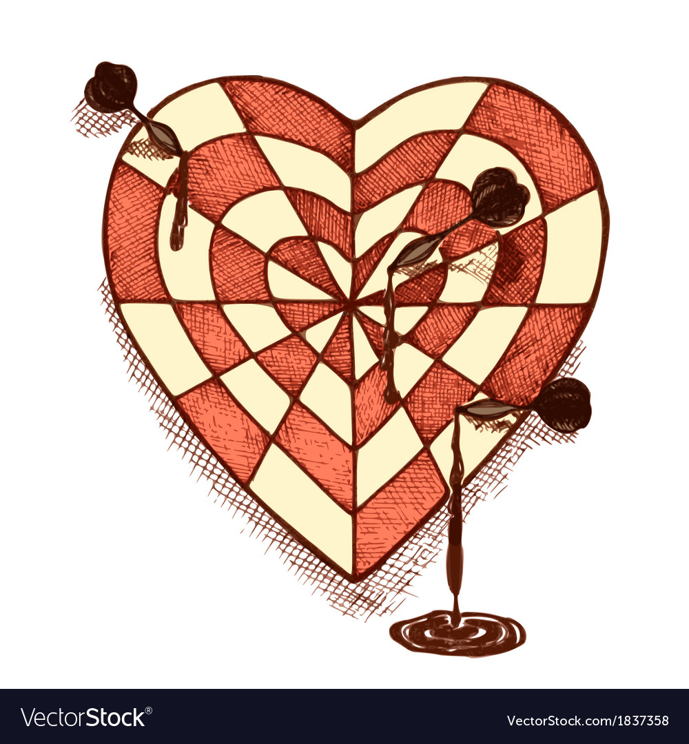 Target shaped heart with arrows emblem vector | Price: 1 Credit (USD $1)
