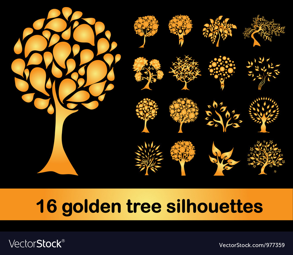 16 golden tree silhouettes vector | Price: 1 Credit (USD $1)
