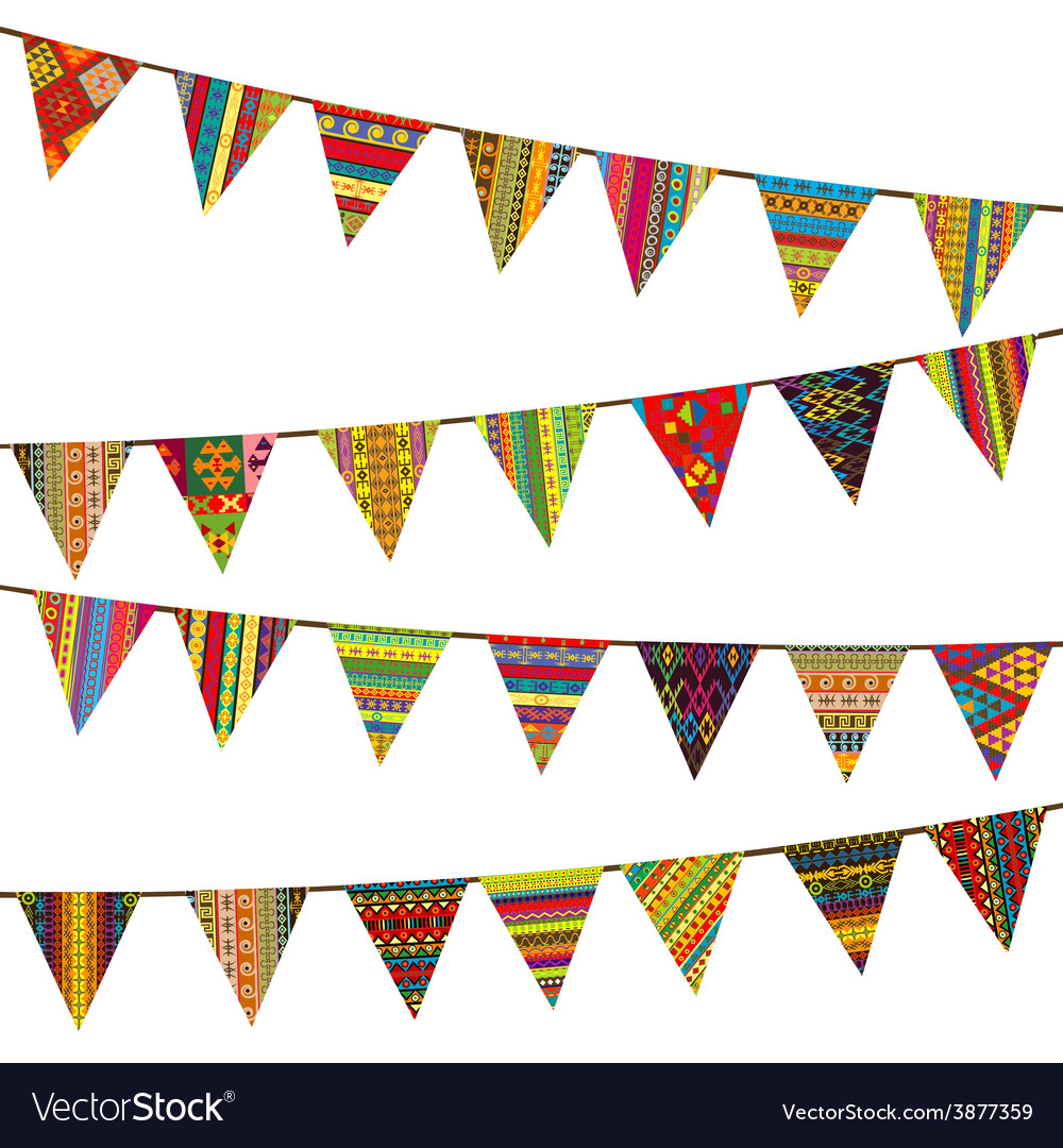Bunting flags with ethnic motifs vector   Price: 1 Credit (USD $1)