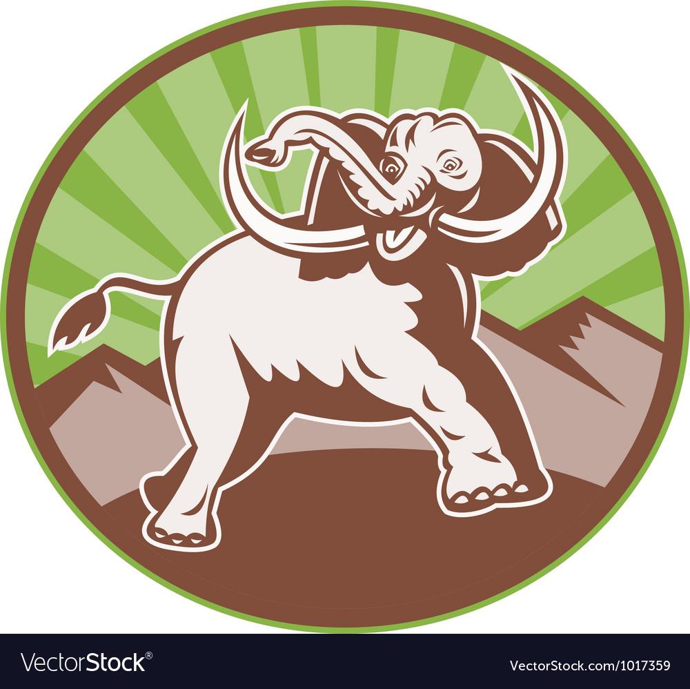 Elephant giant tusk side retro circle vector | Price: 1 Credit (USD $1)