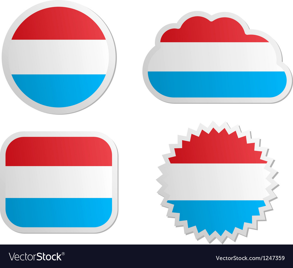 Luxembourg flag labels vector | Price: 1 Credit (USD $1)