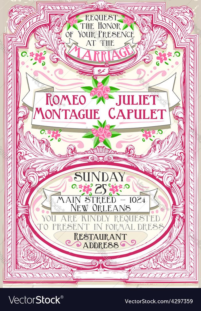 Pink floral vintage wedding invite vector | Price: 3 Credit (USD $3)