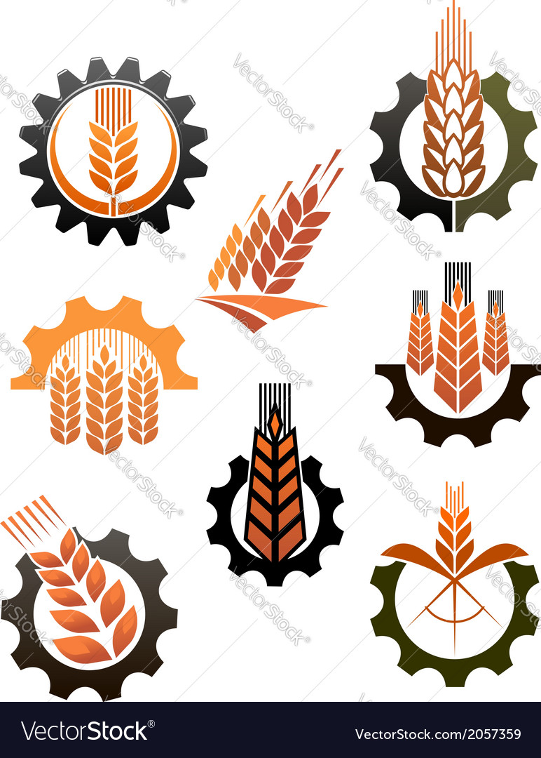Set of icons depicting industry and agriculture vector | Price: 1 Credit (USD $1)