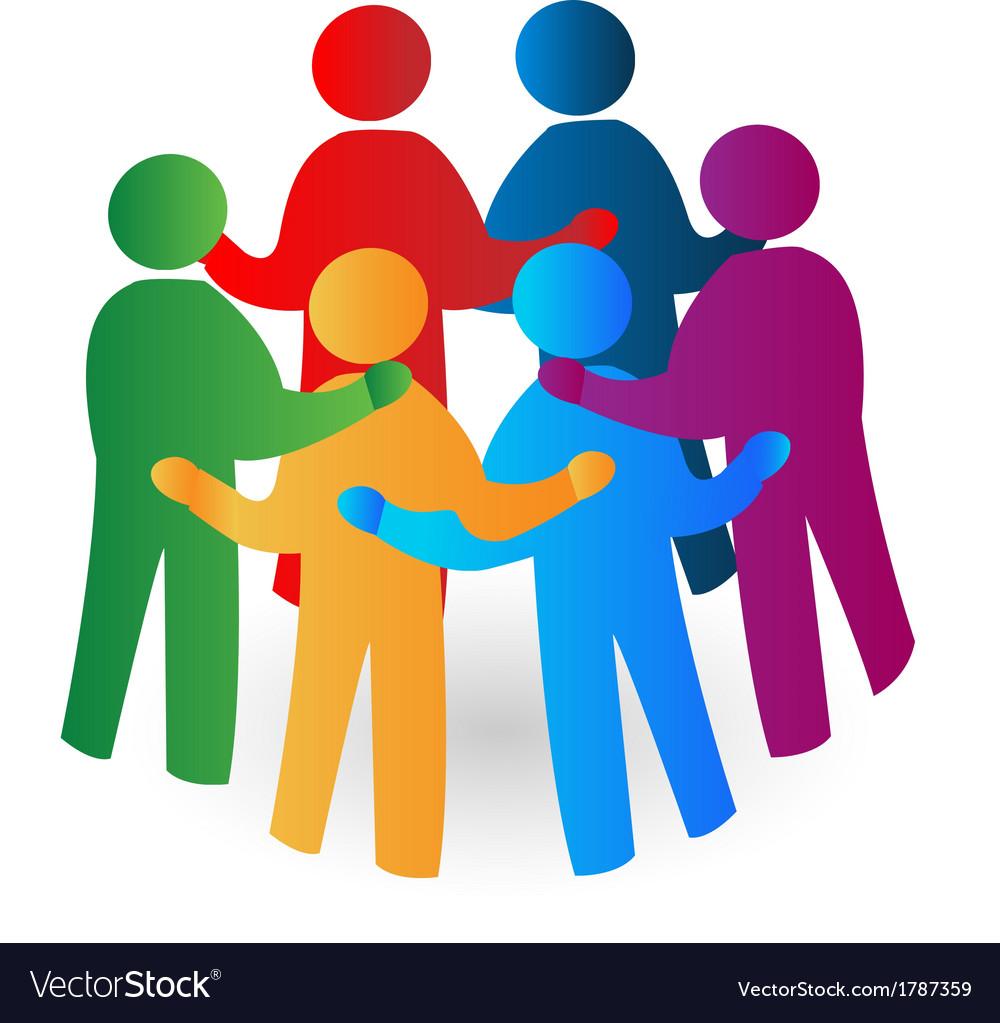 Teamwork meeting people logo vector | Price: 1 Credit (USD $1)