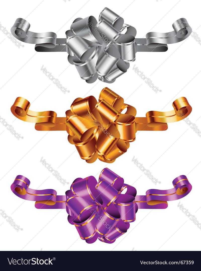 Three color decorative bows vector | Price: 1 Credit (USD $1)
