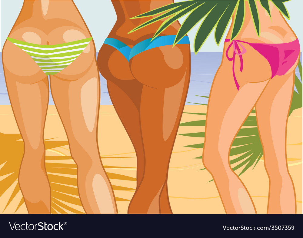 Three girls on beach vector | Price: 3 Credit (USD $3)
