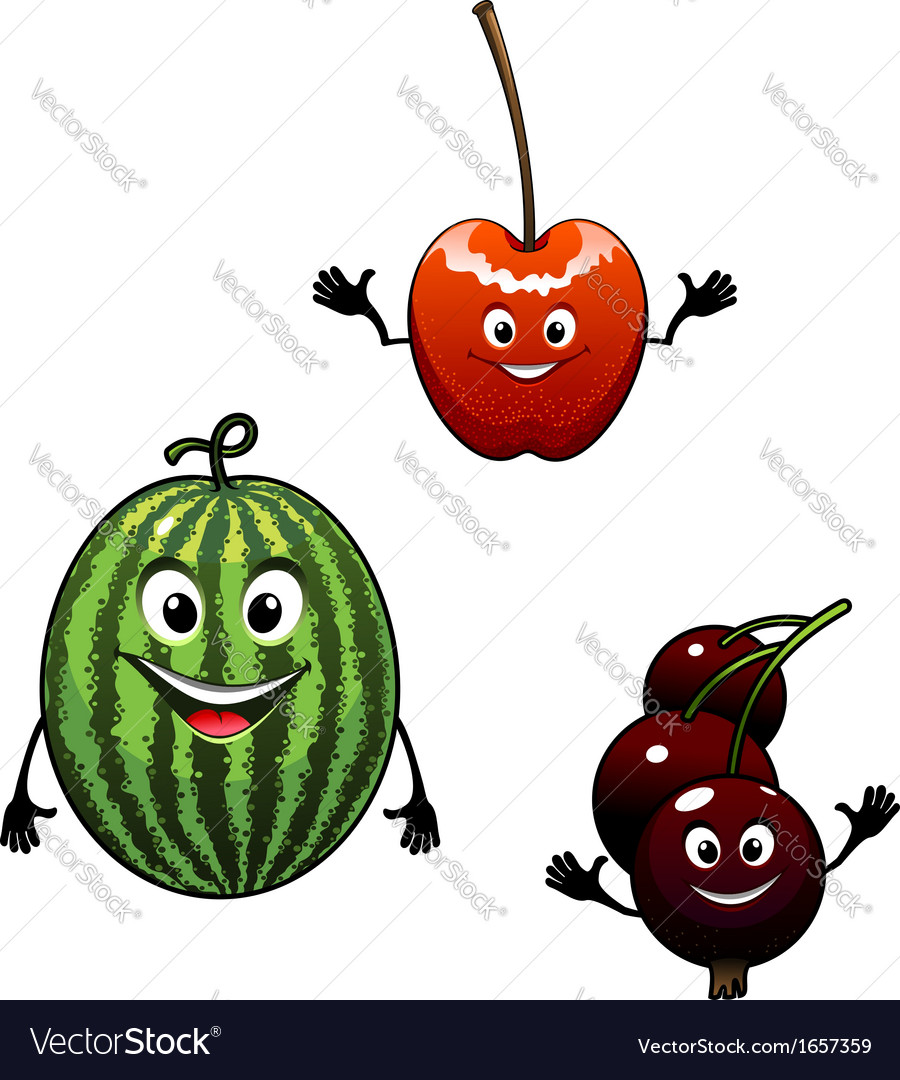 Watermelon currant and cherry cartoon fruits vector | Price: 1 Credit (USD $1)