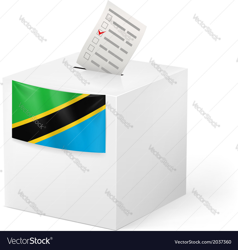 Ballot box with voting paper tanzania vector | Price: 1 Credit (USD $1)
