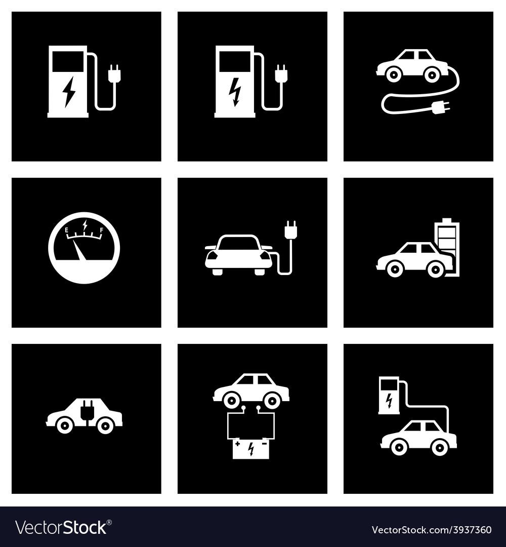 Black electric car icon set vector | Price: 1 Credit (USD $1)