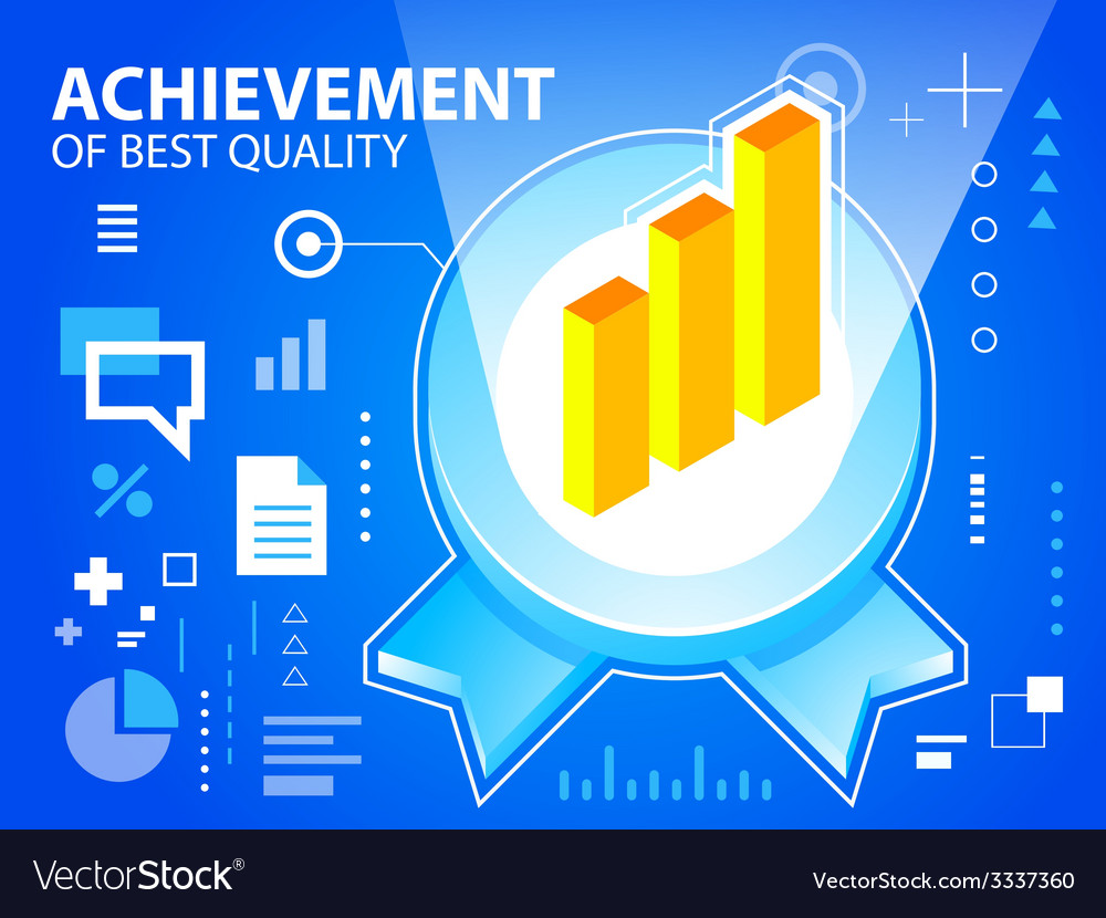 Bright emblem and bar chart on blue backgrou vector | Price: 3 Credit (USD $3)