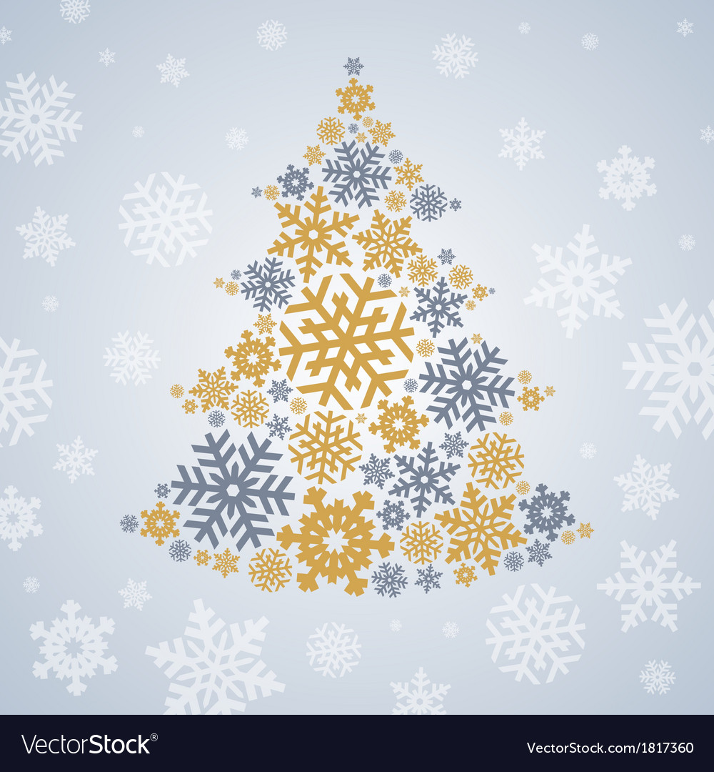 Christmas silver and gold snowflakes tree vector | Price: 1 Credit (USD $1)