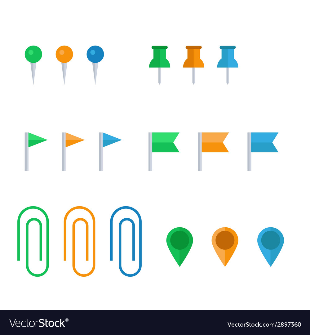Flat icon set of pins and clips vector | Price: 1 Credit (USD $1)