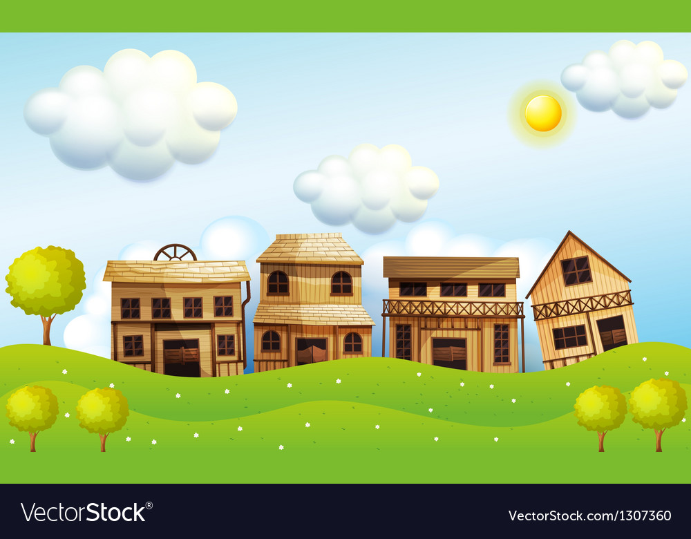 Four different kinds of wooden house vector | Price: 1 Credit (USD $1)